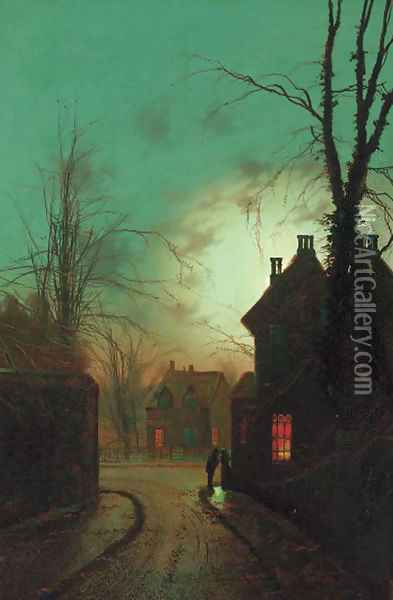 Figures on the corner of a moonlit street; and Figures on a moonlit lane Oil Painting - Wilfred Jenkins