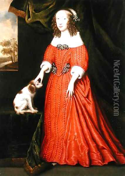 Portrait of a Young Lady in a Red Dress with a pet Spaniel Oil Painting - Gilbert Jackson