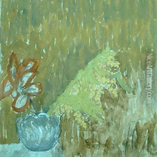 Mimosa and Other Flowers in a Vase Oil Painting - Gwen John