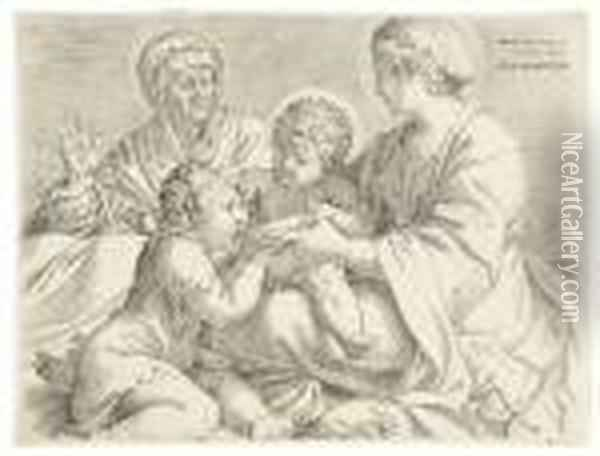 Madonna And Child With Saints Elizabeth And John Thebaptist Oil Painting - Annibale Carracci