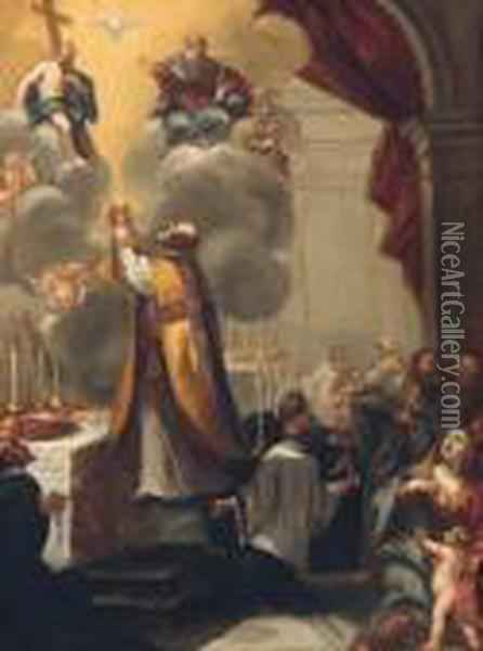 The Mass Of Saint Gregory Oil Painting - Annibale Carracci