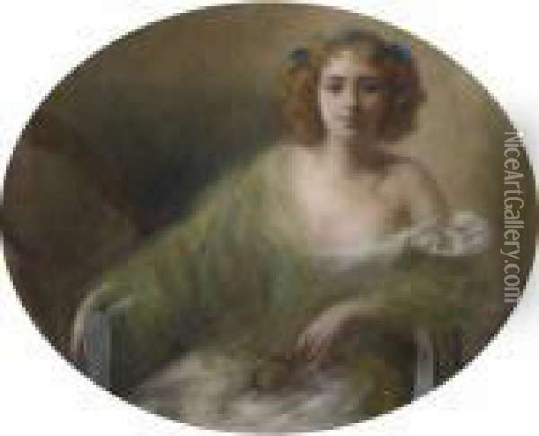 Portrait Of A Young Woman Oil Painting - Pierre Carrier-Belleuse