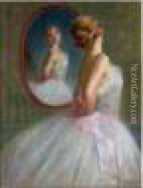 Ballerine Au Miroir Oil Painting - Pierre Carrier-Belleuse