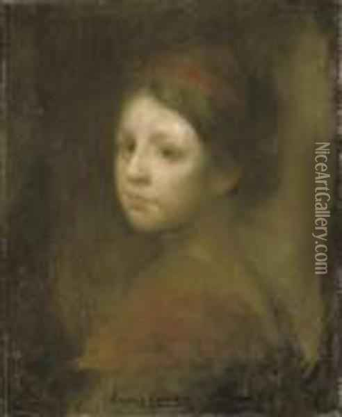 A Young Girl In Red Oil Painting - Eugene Carriere