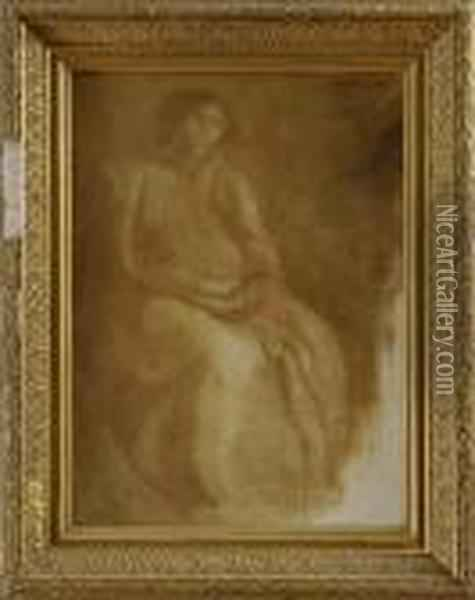 Portrait Of Seated Woman Oil Painting - Eugene Carriere