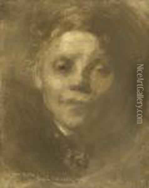 Portrait Of The Artist's Sister, Marie Oil Painting - Eugene Carriere