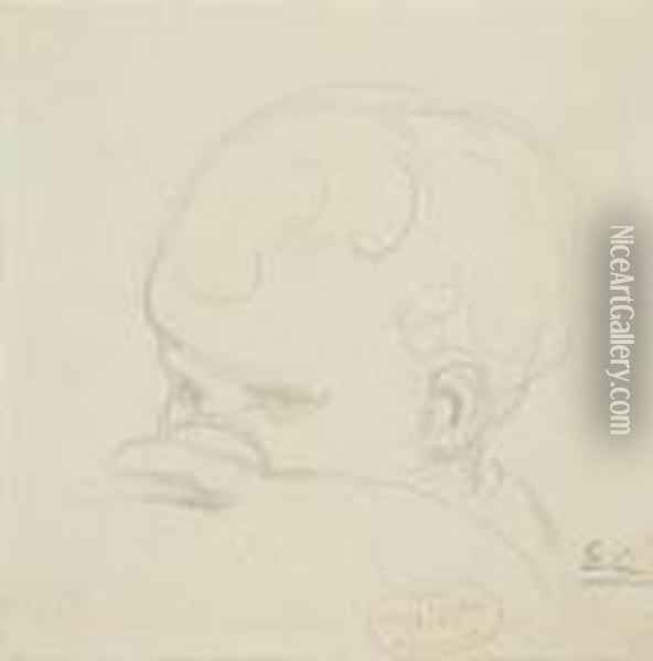 Child's Head Oil Painting - Eugene Carriere