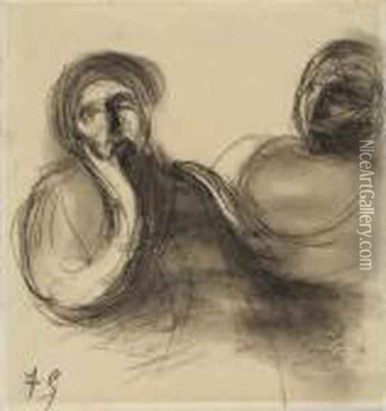 Deux Figures Oil Painting - Eugene Carriere
