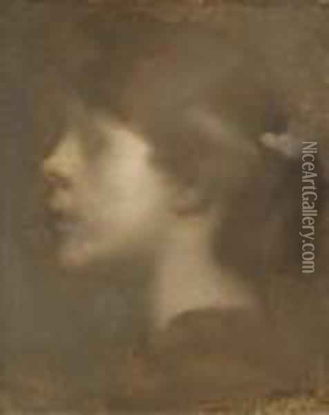 Head Of A Young Girl In Profile Oil Painting - Eugene Carriere