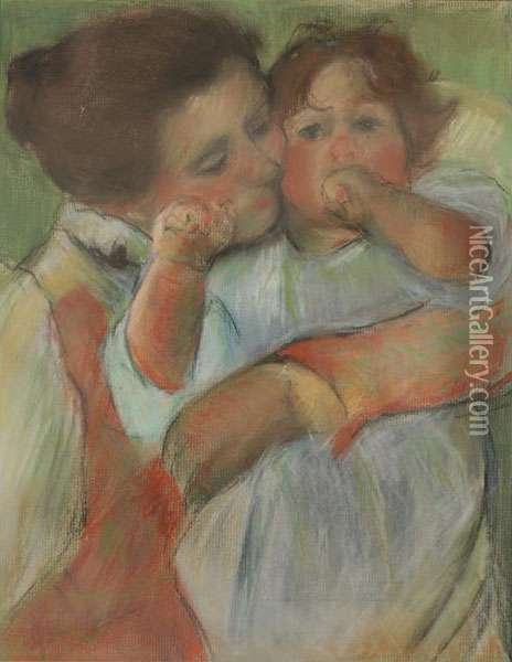 Portrait Of Mother And Child Oil Painting - Mary Cassatt