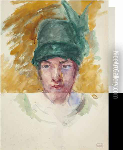 Sketch For Young Woman In A Small Winged Hat Holding A Cat Oil Painting - Mary Cassatt