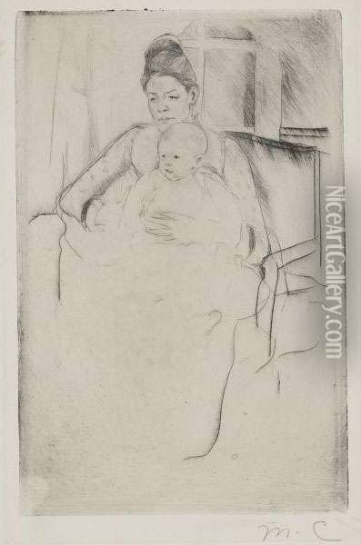 Mrs. Gardner And Her Baby Seated Near A Window Oil Painting - Mary Cassatt