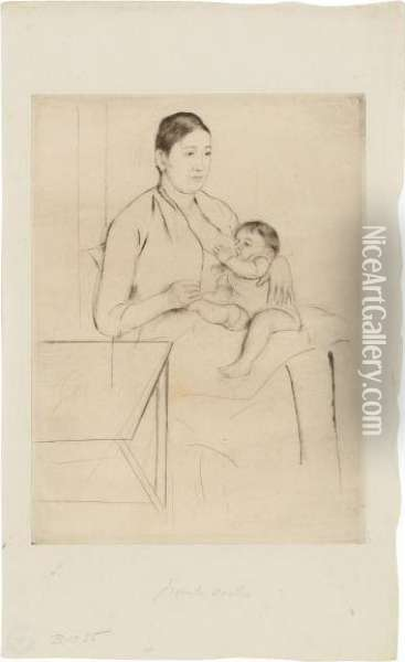 Femme Allaitant Son Enfant Oil Painting - Mary Cassatt
