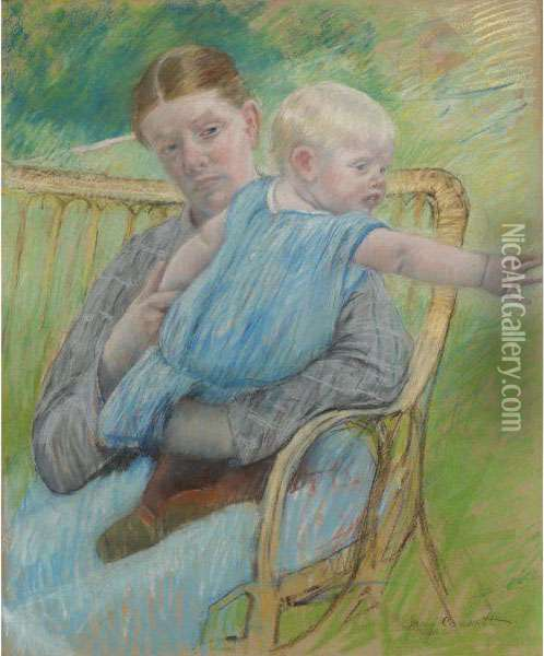 Mathilde Holding A Baby Who Reaches Out To Right Oil Painting - Mary Cassatt