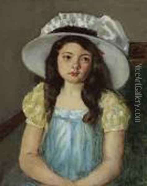 Francoise Wearing A Big White Hat Oil Painting - Mary Cassatt