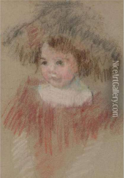 Margot In A Big Hat (fillette, Corsage Rouge) Oil Painting - Mary Cassatt