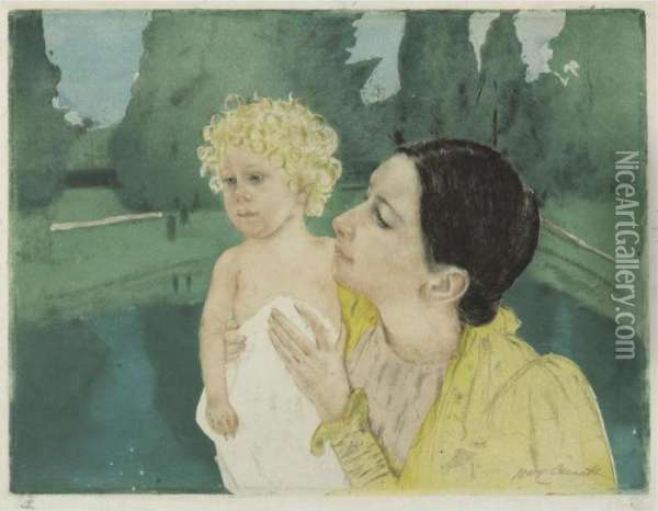 By The Pond (b. 161; M. & S. 21) Oil Painting - Mary Cassatt