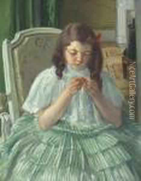 Francoise In Green, Sewing Oil Painting - Mary Cassatt