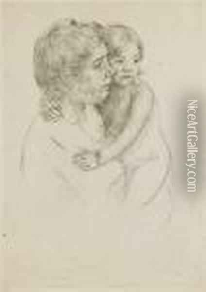 Denise Holding Her Child Oil Painting - Mary Cassatt