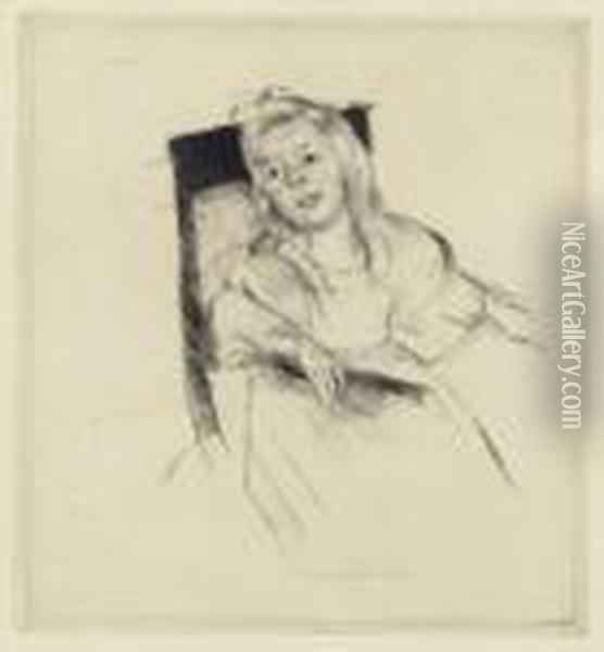 Simone Resting Her Head On The Back Of A Chair (b. 187) Oil Painting - Mary Cassatt