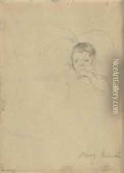 Two Children, One Sucking Her Thumb: A Double Sided Work Oil Painting - Mary Cassatt