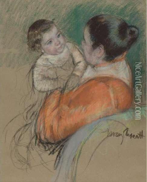 Mother Louise Holding Up Her Blue-eyed Child Oil Painting - Mary Cassatt
