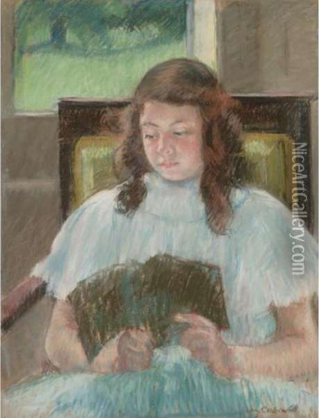 Francoise In A Square-backed Chair Reading Oil Painting - Mary Cassatt