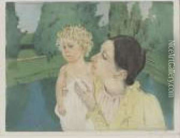 By The Pond (b. 161; M./s. 21) Oil Painting - Mary Cassatt