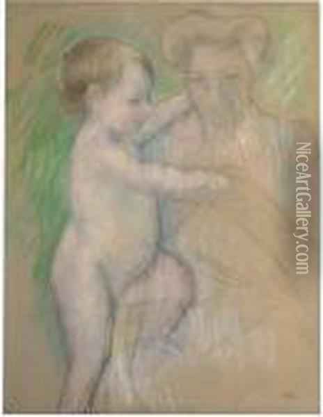 Nude Baby Beside Her Mother Oil Painting - Mary Cassatt