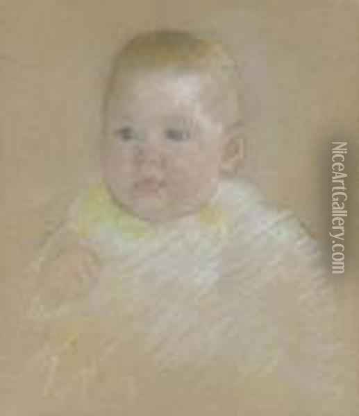Head Of A Baby Oil Painting - Mary Cassatt