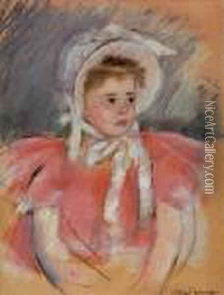 Simone In A White Bonnet Seated With Clasped Hands (no. 1) Oil Painting - Mary Cassatt