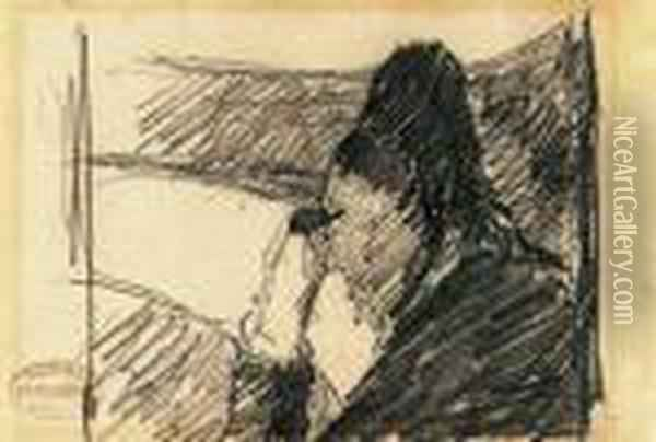 A Woman In Black At The Opera Oil Painting - Mary Cassatt