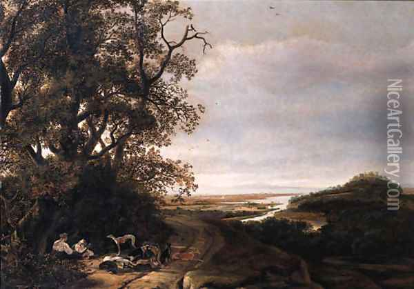 Diana and her companions resting after the chase, an extensive valley beyond Oil Painting - Ludolf de Jongh