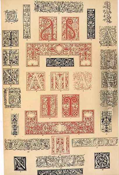 Specimens of Typographic Embellishments from 16th century Italy and France Oil Painting - Owen Jones