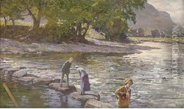 Stepping stones Oil Painting - William Samuel Jay