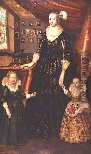 Anne Erskine Countess of Rothes and her daughters Lady Margaret and Lady Mary Leslie Oil Painting - George Jamesone