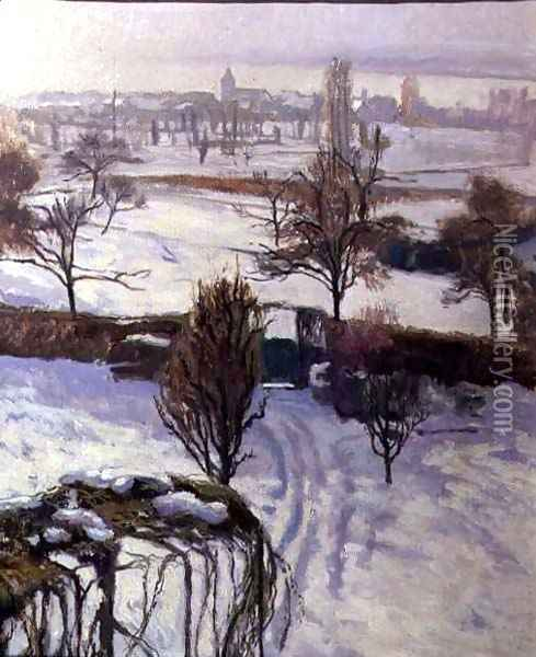 View of Geneva in Winter Oil Painting - Jacques Jacobi