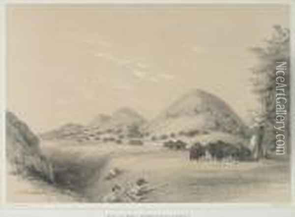 Buffalo Hunt, Approaching A Ravine, Pl. 11, From North American Indian Oil Painting - George Catlin