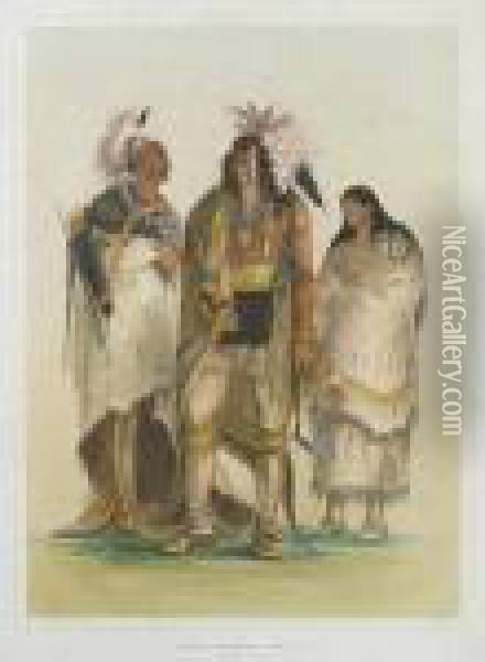 Group Of North American Indians, From Life Oil Painting - George Catlin