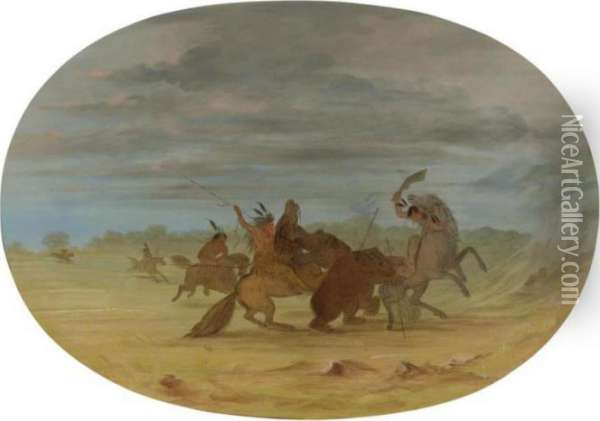 Indians Hunting The Grizzly Bear Oil Painting - George Catlin