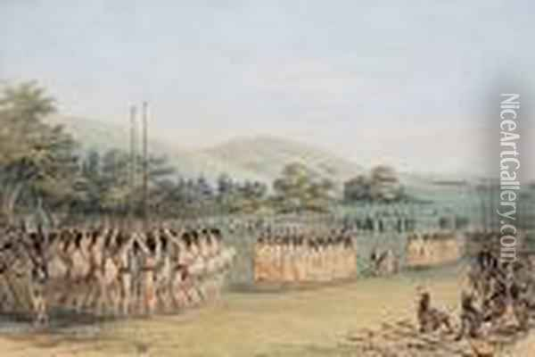 Ball Play Dance Oil Painting - George Catlin