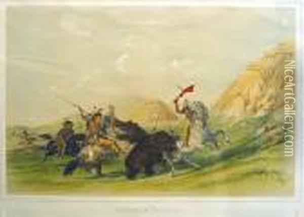 Attacking The Grizzly Bear Oil Painting - George Catlin