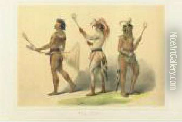 Ball Players Oil Painting - George Catlin