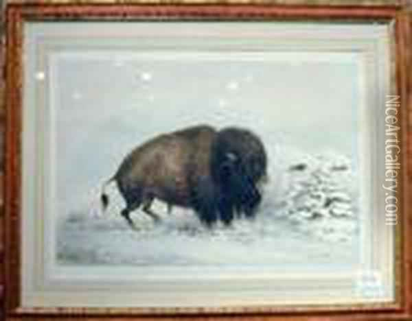 Buffalo Hunt Oil Painting - George Catlin