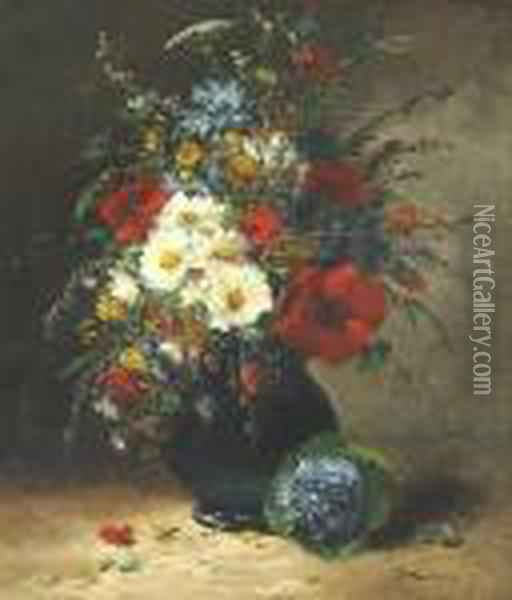 A Still Life With Flowers In A Vase Oil Painting - Eugene Henri Cauchois
