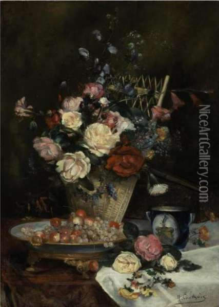 Still Life With Roses, Cherries And Grapes Oil Painting - Eugene Henri Cauchois