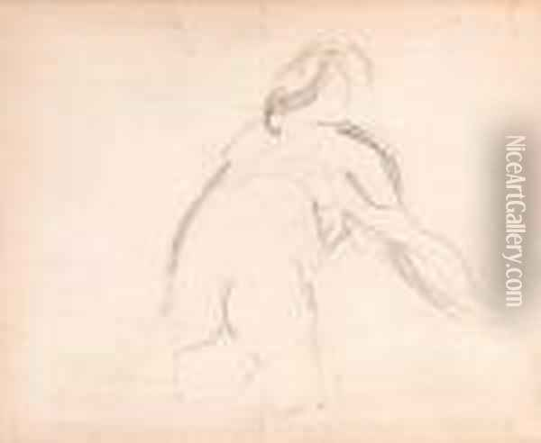 Etude D'homme (recto); And Etude Baigneuse (verso) Oil Painting - Paul Cezanne