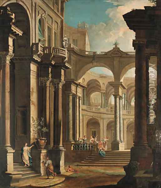 A capriccio of the courtyard of a baroque palace with musicians and other figures Oil Painting - Antonio Joli