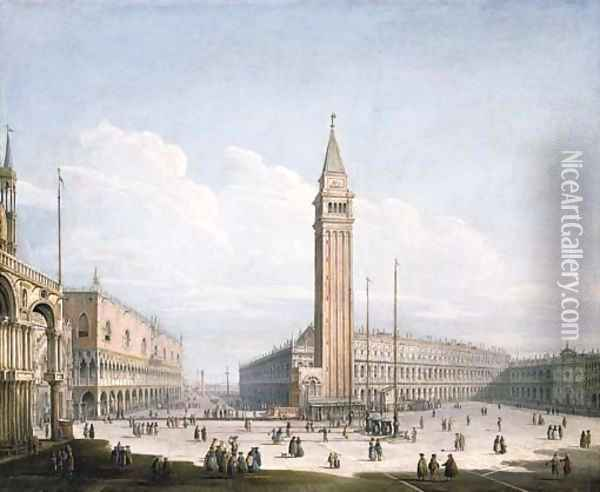 The Piazza San Marco and the Piazzetta, Venice, looking south-west from the Torre dell'Orologio, with St. Mark's Cathedral, the Doge's Palace Oil Painting - Antonio Joli