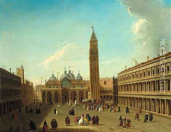 The Piazza San Marco, Venice, looking east, with a performance of the Commedia dell'Arte beneath the Campanile Oil Painting - Antonio Joli